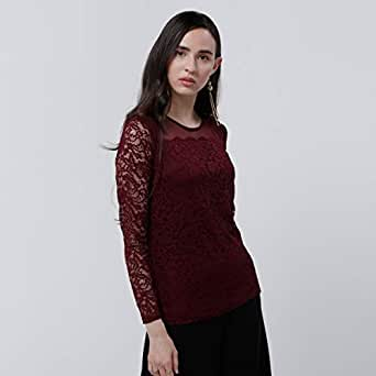 Elle Blouses For Women, Burgundy 8 UK