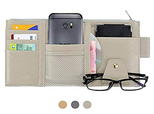 (Itenqi PU Leather Multi-Function Car Space Sun Visor Organizer Bag Hanging Card Phone Storage Pouch)