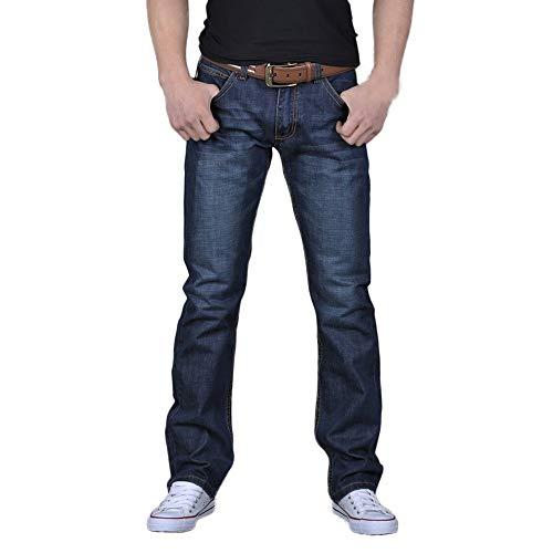 TOTOD Jeans Pants for Men's Casual Denim Cotton Hip Hop Loose Work Long Trousers Blue]()