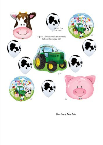 Barn Farm Animals Birthday Party Cow Tractor Pig Balloons