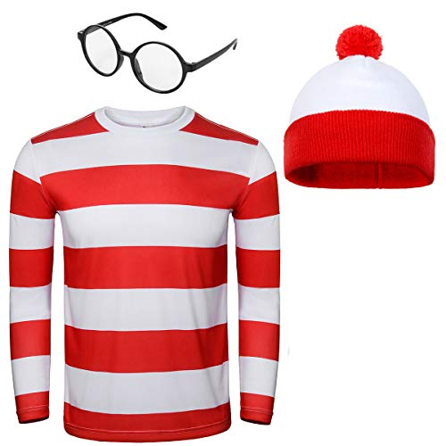 Adult Men Red and White Striped Tee Shirt Glasses Hat Outfit Suit Set Halloween Cosplay Costume Party Props (Large, Adult Men)