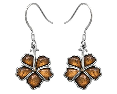 Sterling Silver Wood Hibiscus Earrings