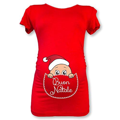 Manica Natalizia Natale Lunga Rossa Premaman Buon Babloo Maglia Natale Shirt T M 0PqX4v