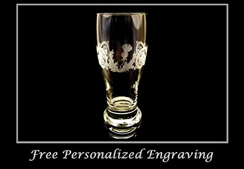 (Scottish Thistle Celtic Pint Glass, Free Personalized Engraving)