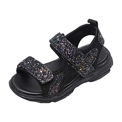 ❤SSYongxia❤ Fashion Children Girl Sparkle Mary Jane Princess Party Dress Shoes Mesh Breathable Sandals Walking Shoe Black ()