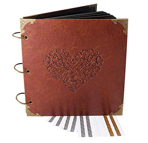 Guest Book Engraved (Love Heart - Engraved Wedding Guest Book, Hard Cover Ring Bound Scrapbook, Photo Booth Album (10.5