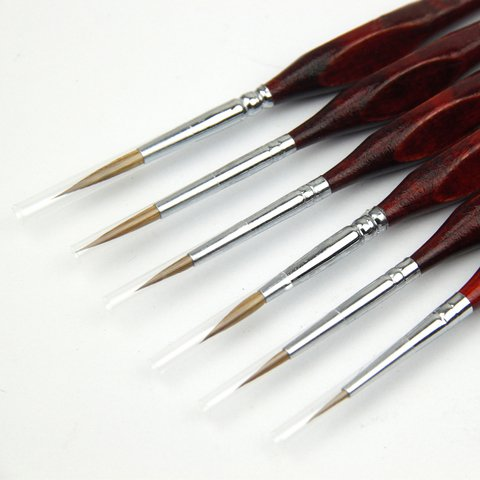 Professional Detail Paint Brush Set of 6 pcs, Miniature Brushes for Detailing & Art Painting - Acrylic, Watercolor, Oil - Models, Airplane Kits, Nail Painting