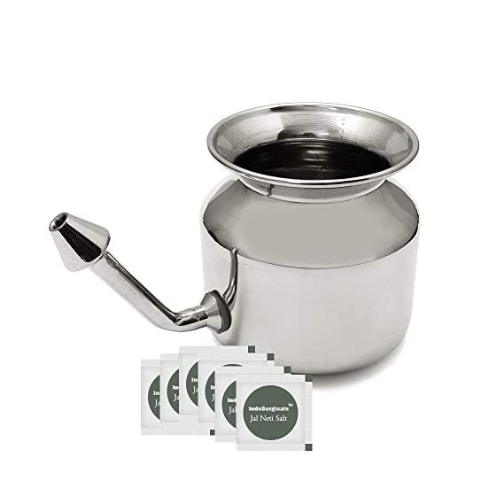 IS IndoSurgicals Stainless Steel Ayurvedic Jala Neti Pot for Sinus Congestion with 10 Sachet of Salt