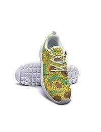 Hobart dfgrwe Yellow Black Tropical Sunflowers Floral Women Flat Bottom Low Help Basketball Shoes
