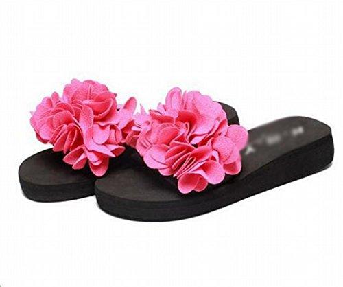 Des Et 39 Avec Camélia Un Rouge Fleurs Portent À Pantoufles Femme Slipper L'extérieur Sandales Été wtp6T