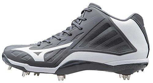 Mizuno Men's Heist IQ Mid Baseball Cleat, Grey/White, 7 M US
