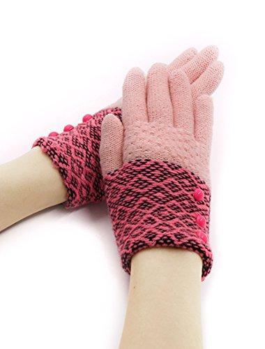 uxcell ニット手袋 グローブ 冬 防寒 保温 暖かい フルフィンガー 切り替え配色