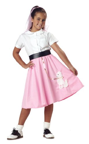 Poodle Skirt Girl's Costume, Large, One Color (50s Greaser Girl)