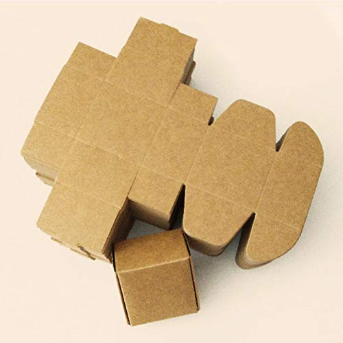 100Pcs Brown Kraft Paper Gifts Packaging Boxes for Crafts Handmade Soap with Foldable Small Boxes (Brown Box 2.95x2.9x1.57 inch (7.5x7.5x4cm)) (Purpose Multi Time Recorder Electronic)