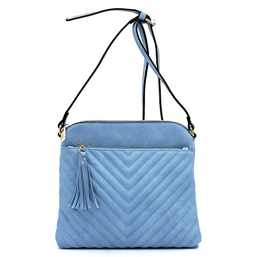 Vegan faux leather Chevron quilted Crossbody purse with