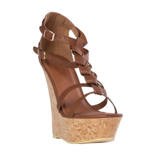 Just Fab Womens Calistoga Brown Pu Wedge 10 M Us