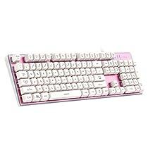 AUKEY Gaming Tastatur 104 Tasten QWERTY-Layout 11 LED Hinterleuchtung 26 Tasten Anti-Ghosting mit Multimedia-combo Funktionstasten Mechanisches Gefühl Tastatur für Spieler, Typisten, Büro (Rosa)