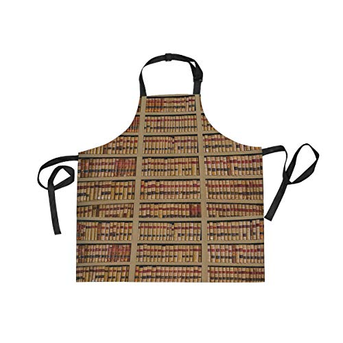 Adjustable Bookcase Art Apron with Pocket & Extra-Long Ties, Men and Women Kitchen Apron for Cooking, Baking, Crafting, Gardening, BBQ