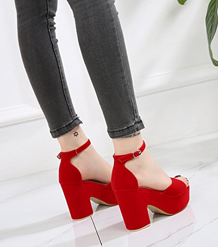Red CAMSSOO Solid Wedge Middle heel Open Color Sandals Women's toe wHq7O6w