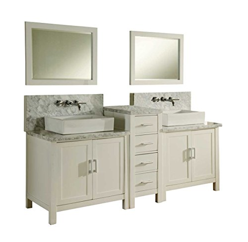 Direct vanity sink 7080D1-WWC Horizon Premium Double Vanity Sink and Mirror, 84-Inch, -