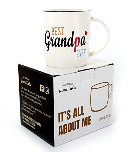 Janazala Best Grandpa Ever Mug, Grandpa Coffee Mug, Anniversary And Birthday Gifts Idea For Granddad, Fathers Day Present, Grandparents Christmas Gift, Ceramic, 13 oz Cup