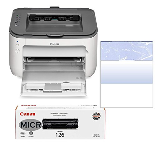 RT LBP6230dw ImageClass MICR Printer Bundle with CRG126 Modified MICR Toner Cartridge - 250 Business Checks (blue marble top check) preinstalled in printer (3 Items)