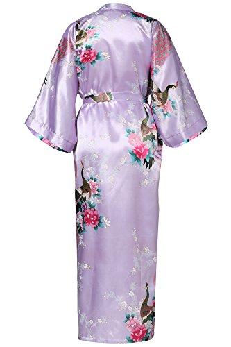 ArtiDeco Vestido Kimono Pijama de Seda Novia Kimono de Seda Ropa de dormir de Satén Estampado Pavo Real Púrpura Claro
