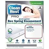Clean Rest Pro Bed Bug & Allergen Blocking Box Spring Encasement Featuring Zip-N-Click (Queen)