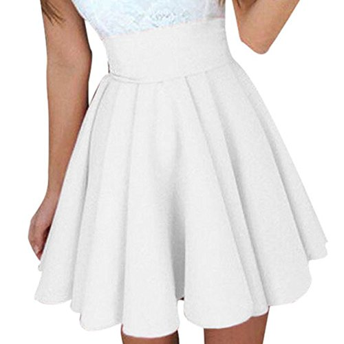 (WOCACHI Womens Mini Skirts Pleated Swing Flowy Party Cocktail Skater Skirt Over Knee Dresses 2019 Summer Deals New Casual Fashion Solid Ladies Club Under 10 Dollars White)