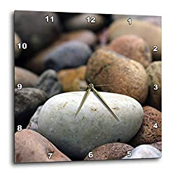 3dRose Stamp City - Nature - Photograph of Colorful River Rocks in a Pathway Around a Garden Bed. - 13x13 Wall Clock (DPP_316734_2)