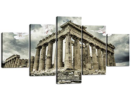 5 Piece Canvas Modern Painting Parthenon Temple on the Acropolis of Athens,Greece Artwork Wall Art Home Decor for Living Room Pictures HD Printed Posters and Prints Framed Ready to hang(60''Wx32''H) -