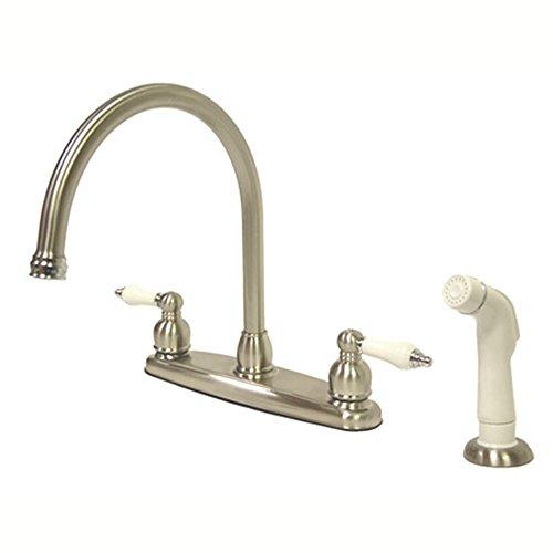 Kingston Brass KB727 Victorian Gooseneck Kitchen Faucet with OAK and Porcelain Handle, 8-3/4-Inch, Brushed Nickel/Polished Chrome ()