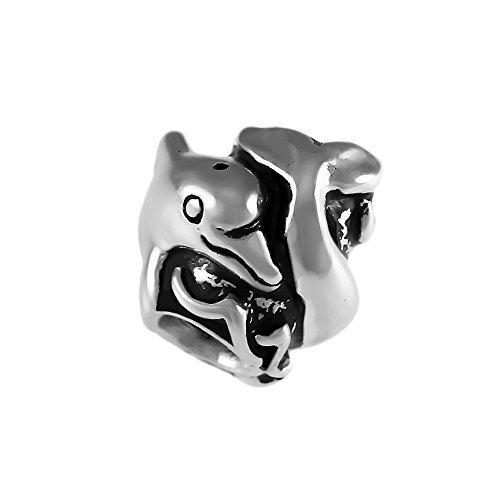 Lone Dolphin (Adorable Dolphin and Wave Handmade Sterling Silver Large Hole Charm Bead)