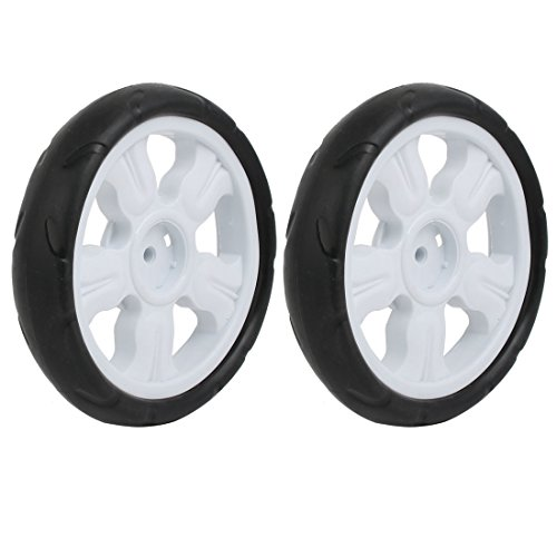 uxcell 2pcs 185mm Dia Plastic Single Wheel Pulley Rolling Roller White ()