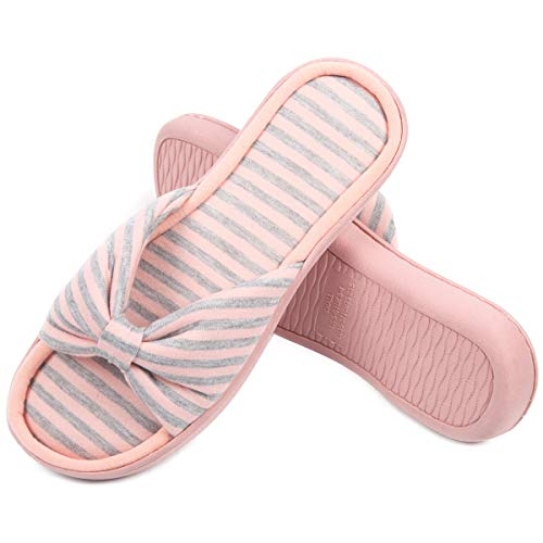- Caramella Bubble Womens Memory Foam Open Toe Slippers |Breathable Summer Slippers with Bow | Cute Stripe Anti-Slip House Slippers (7-8, Pink)
