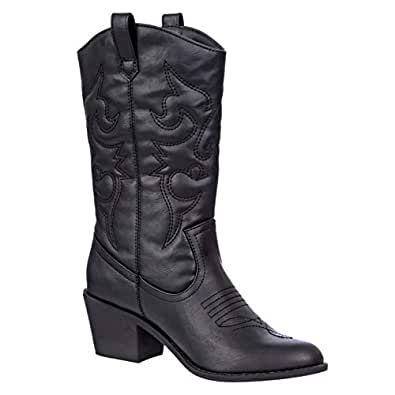 Charles Albert Women's Embroidered Modern Western Cowboy Boot in Black Size: 6