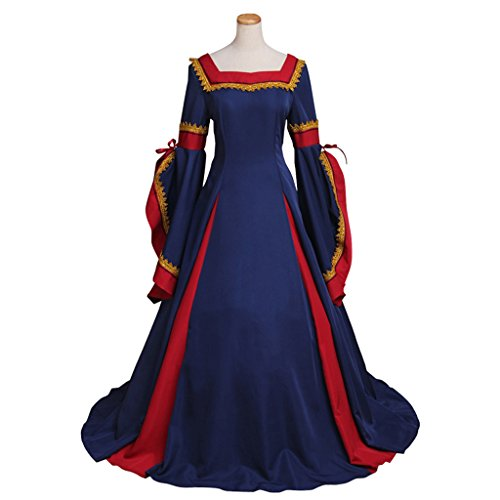 CosplayDiy Women's Guinevere Navy Blue-Bordeaux Victorian Dress Costume XXXXL (Plus Size Victorian Costumes)