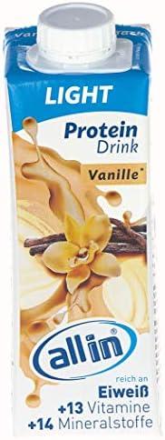 all in® LIGHT Protein Drink Vanille 14 x 250ml - Diät Shakes zum Abnehmen mit extra Koffein und ohne Zuckerzusatz | Low Carb Lebensmittel Eiweiß Shake Meal Replacement