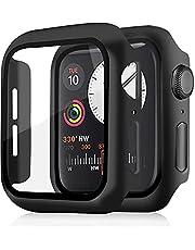Skyddslock med pansarglas skärmskydd kompatibel med Apple Watch Series 4/5/6/SE 44 mm, 360° allround-skyddsfodral, PC-material, ultratunn (svart, 2-pack)