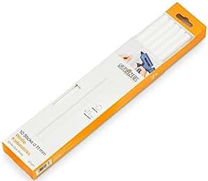 Steinel 006808 Barras de pegamento blancas Ø 11 mm, Termopegamento universal blanca, Barritas de pegamento potente y universal para pegar o retocar materiales claros, 10 unidades, 250 mm, 250 g