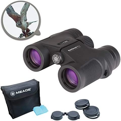 Meade Instruments Rainforest Pro 8×32 Compact Outdoor Bird Watching Sightseeing Sports Concerts Travel Professional HD Binoculars for Adults Fully Multi-Coated BaK-4 Prisms Durable Waterproof
