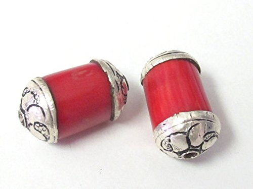 - Red Tibetan coral sterling silver capped beads - 1 bead - BD323