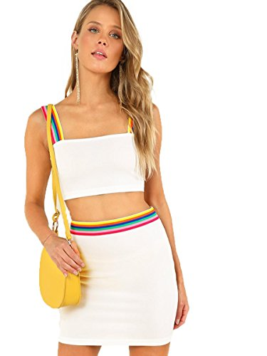 Two Piece Skirt - Romwe Women's 2 Piece Crop Tank Top with Skirt Set Sleeveless Bodycon Mini Dress White Small