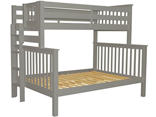 Bedz King Bunk Beds Twin over Full Mission Style with End Ladder, Gray