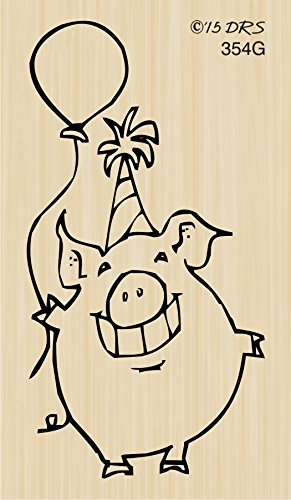 Birthday Party Pig Rubber Stamp By DRS Designs by DRS Designs Rubber Stamps