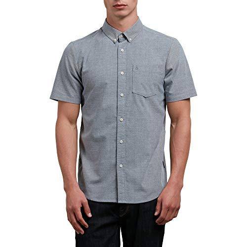 Volcom Men's Everett Oxford Modern Fit Woven Short Sleeve Shirt Black