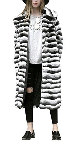 GESELLIE Women's Soft Warm Black White Stripes Faux Fur Lapel Long Outwear Coat by GESELLIE