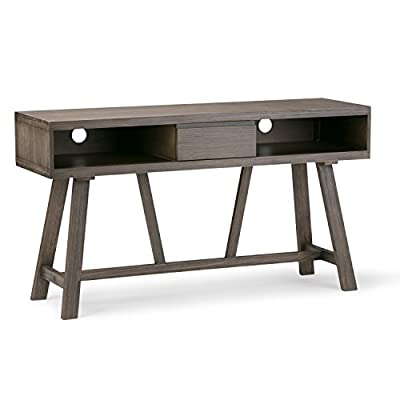 Simpli Home 3AXCDLN-06 Dylan Solid Wood 54 inch Wide Rustic Console Table in Driftwood - Finished in a wire brushed Driftwood finish Handcrafted with care using the finest quality solid pine Features a drawer in the center for storage - tv-stands, living-room-furniture, living-room - 41YkVGdgVyL. SS400  -