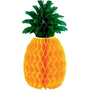 """Amscan Sun-Sational Summer Luau Party Pineapple Honeycomb Centerpieces Table Decoration, Paper, 12"""""""