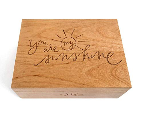 You Are My Sunshine Laser Cut Wood Keepsake Box (Wedding or Anniversary/Love/Baby Shower Gift/Memory Box/Heirloom/Decorative/Handmade)